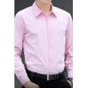 Popular Men's Shirt Solid Color Button up Long Sleeves Lapel Slim Fit Shirt
