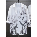 Freestyle Man's Button Shirt Abstract Pattern 3/4 Sleeves Spread Collar Loose Shirt for Men