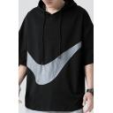 Fashionable Men's Hoodie Color Block Half Sleeve Loose Fitted Drawstring Hooded Sweatshirt