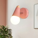 Macaron Style Conical Vanity Wall Lamp Bathroom Rotating Sconce Lighting with Exposed Bulb Design