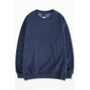 Basic Sweatshirt Solid Color Long Sleeve Round Collar Loose Fit Pullover Top for Men