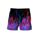 Men's Summer Shorts Flame 3D Printed Drawstring Mid Rise Relaxed Fitted Shorts