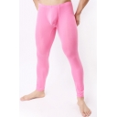 Simple Sporty Pants Compression Tights Solid Color Elastic Waist Ankle Length Skinny Pants for Men