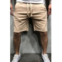 Sporty Style Men's Shorts Solid Color Drawstrings Detail Mid-Rise Relaxed Fit Shorts
