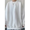 Simple Sweatshirt Solid Color Crew Neck Regular Fit Pullover Sweatshirt for Guys