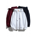 Street Style Hoodie Plain Long-Sleeved Pouch Pocket Drawstring Detail Relaxed Hoodie for Men