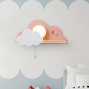 Cute Sun and Cloud Wall Light Wooden Single Light LED Sconce Light with White Globe Glass for Girls Bedroom