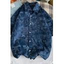 Boyish Shirt Swallow Patterned Button-up Turn-down Collar Short Sleeves Loose Shirt for Men