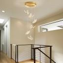 Stylish Modern Butterfly Pendant Lamp Acrylic Loft House Multi Light Ceiling Light in Gold