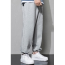 Mens Sporty Pants Plain Pocket Decorated Drawstrings Waist Relaxed Sweatpants