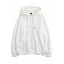 Chic Guys Hoodie Pure Color Long Sleeve Drawcord Kanga Pocket Relaxed Hoodie