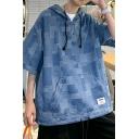 Casual Hoodie Plaid Pattern Half-sleeved Kangaroo Pocket Drawstring Loose Hooded Sweatshirt for Men