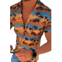 Tropical Style Men's Shirt Coconut Tree Printed Short Sleeve Notched Collar Button-up Slim Shirt