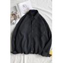 Men Simple Shirt Plain Button Detailed Turn-down Collar Front Pocket Long Sleeves Loose Shirt