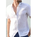 Simple Shirt Button Closure Solid Color Short-Sleeved Lapel Regular Shirt for Men