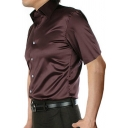 Trendy Men's Shirt Satin Solid Color Short Sleeves Point Collar Button-down Fitted Shirt Top