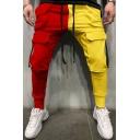 Unique Pants Contrast Color Flap Pockets Drawstring Slim Cargo Pants for Men