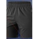 Sporty Shorts Solid Color Elastic Waist Zip-up Pocket Regular Fit Shorts for Men