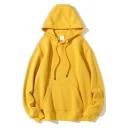 Street Look Plain Hoodie for Men Long Sleeve Drawstring Kangaroo Pocket Pullover Relaxed Hoodie