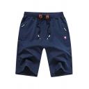Guys Popular Shorts Zip Up Pockets Drawcord Waist Knee Length Straight Shorts