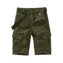 Trendy Men's Shorts Plain Flap Pockets Knee Length Zipper Fly Straight Cargo Shorts