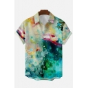 Guys Stylish Shirt Plant Printed Button-down Short Sleeve Lapel Loose Fit Shirt in Green