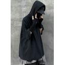 Street Style Drawstring Hoodie Solid Color Half Sleeve Loose Fit Hoodie for Men