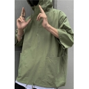 Street Style Drawstring Hoodie Pure Color 3/4 Sleeve Pockets Detail Loose Hoodie for Guys