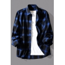 Popular Shirt Square Printed Button-up Turn-down Collar Long-Sleeved Relaxed Fit Shirt for Men