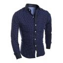 Stylish Shirt Polka Dot Printed Long Sleeve Turn Down Collar Button Up Fit Shirt for Men