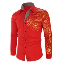 Chic Mens Shirt Ethnic Printed Hot Stamping Long Sleeve Spread Collar Slim Shirt