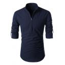 Leisure Men's Shirt Plain Long Sleeve V-Neck Zip-up Slim Shirt Top