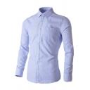 Formal Men's Shirt Plain Button-down Long Sleeves Turn-down Collar Slim Fit Shirt