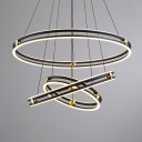 Post Modern Black Chandelier Tiered LED Light Aluminum Circular Ring Chandeliers for Dining Room