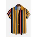 Men Modern Shirt Stripe Patterned Short Sleeve Spread Collar Button-down Loose Shirt Top