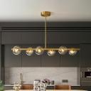 Post-Modern Molecule Island Lighting Brass Arm Kitchen Bar Pendant Lamp with Glass Globe