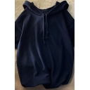 Fashionable Hoodie Pure Color Roll-up Short Sleeve Drawstring Regular Fitted Hoodie for Men