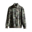 Youth Style Boy's Hoodie Camo Print Front Pockets Detailed Long Sleeve Regular Zipper Design Hoodie