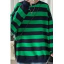 Popular Mens Sweatshirt Vertical Striped Print Long Sleeves Round Neck Loose Fit Sweatshirt