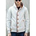Casual Men's Hoodie Color Block Pocket Detail Single Breast Long-Sleeved Regular Fit Hoodie