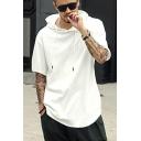 Leisure Men's Hoodie Solid Color Short-Sleeved Regular Fitted Drawcord Hoodie