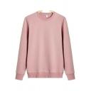 Neat Mens Sweatshirt Plain Long Sleeves Round Neck Regular Fit Sweatshirt