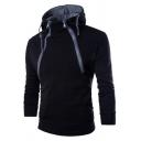 Freestyle Men's Hoodie Contrast Stitching Zipper Long Sleeves Slim Fit Drawstring Hoodie