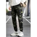 Modern Mens Zip Fly Pants Camo Printed Mid-Rised Flap Pocket Design Cargo Pants
