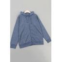 Chic Men's Hoodie Plain Drawstring Front Pocket Detailed Long Sleeves Regular Zip Fly Hoodie