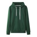 Casual Hoodie Solid Color Long Sleeves Pullover Loose Fit Hoodie for Men