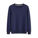 Popular Mens Solid Color Sweatshirt Rib Cuffs Long-Sleeved Crew Neck Pullover Sweatshirt