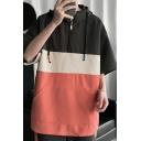 Fashion Men's Sweatshirt Color Block Kanga Pocket Half Sleeve Regular Fit Drawstring Hoodie