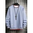 Boyish Mens Sweatshirt Contrast Line Faux Twinset Panel Round Neck Long Sleeves Relaxed Sweatshirt