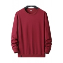 Classic Mens Sweatshirt Whole Colored Round Neck Rib Cuffs Long Sleeves Sweatshirt